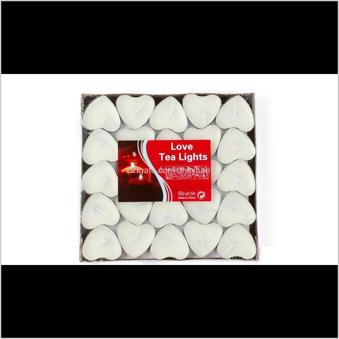 Décor Home & Garden Drop Delivery 2021 Heart-Shaped Ghee 2 Hours Butter 6 Colors 50Pcs/Set Tea Light Candles Non-Smoking Votive Candle Wutxd