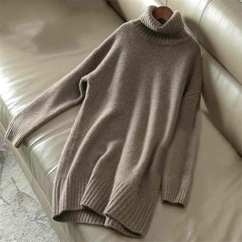 Cashmere Sweater Women Turtleneck Knitted Wool Pullover Long Loose Thick Warm Fashion Casual Women's 210525