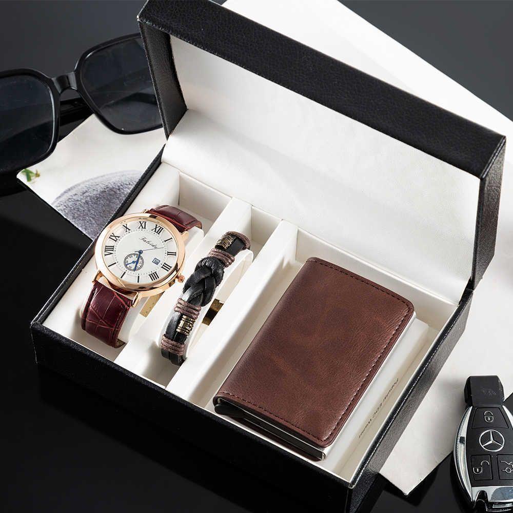 Großhandel Männer Quarzuhr 3pcs / set Hohe Qualität Kuh Leder Armband und Kartenbranche und Armbanduhren Geschenkbox Set Kostenlose Box 210603