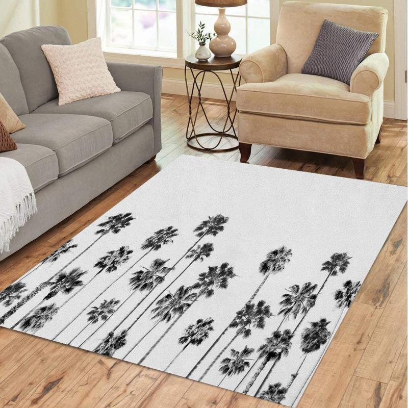 Ковры Черно-белые Palms 2 Печатные Узоприменяющиеся Коврические Коврики Для Главная Напольные Коврики Коврик CAR Индивидуальный Нескользящий