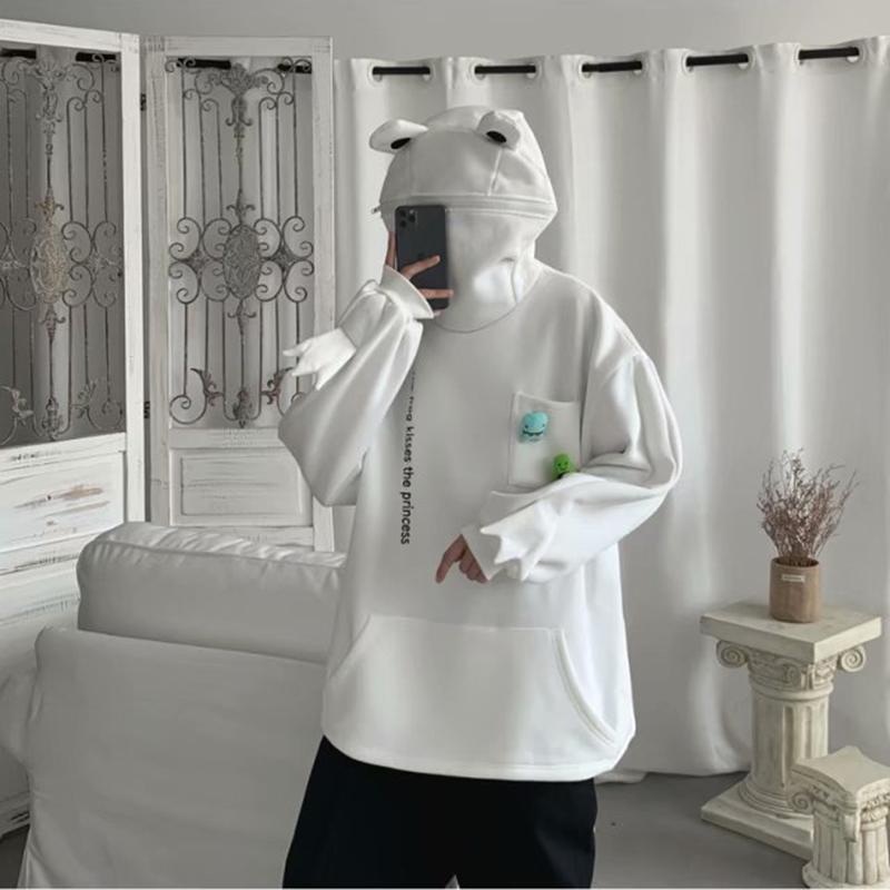 Новые осени Мужчины Женщины смешные лягушки толстовки хип-хоп чистый толстовка с капюшоном Студенты молодежная зимняя одежда