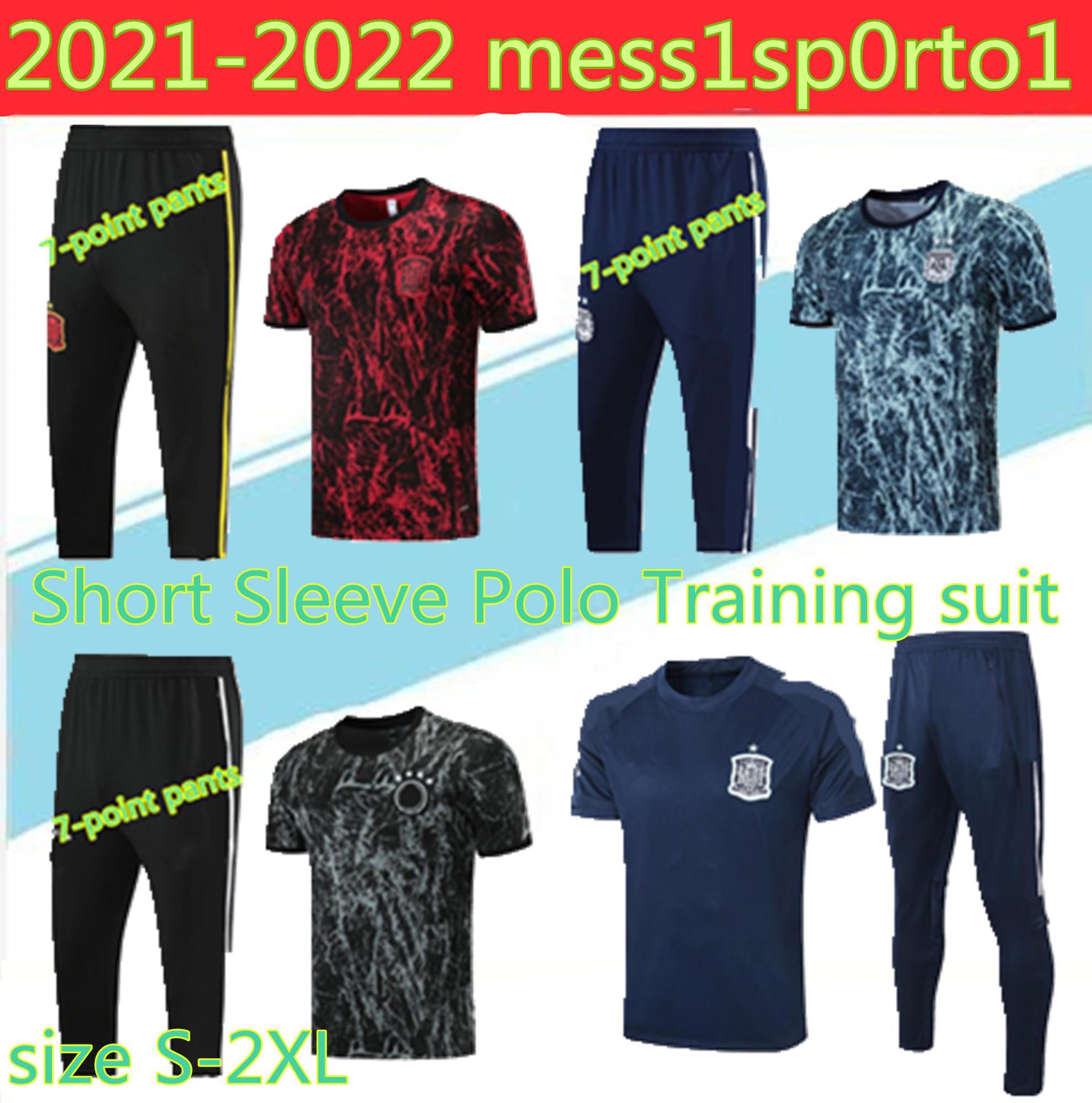 새로운 2021 국가 대표팀 스페인 월드컵 반팔 훈련 유니폼 20 22 22 POLO 3/4 아르헨티나 축구 뮬러 닫기 Dzagove. iniesta outdoors s-2xl