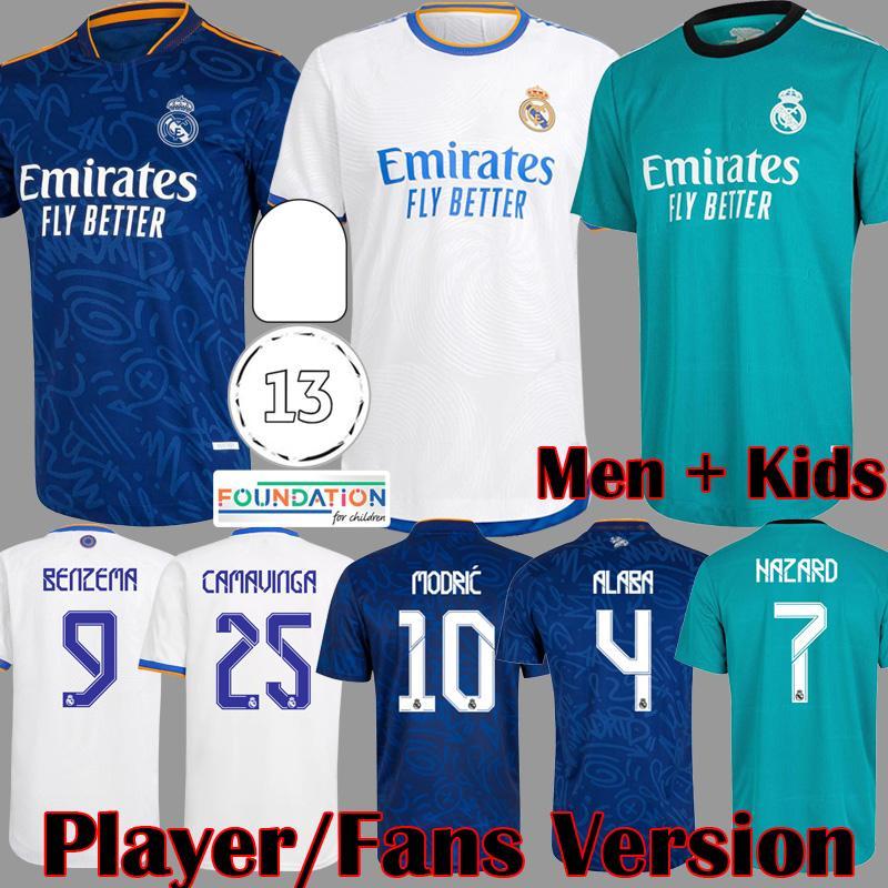 2021 2022 Versão Real Madrid Versão Futebol Jerseys Camavinga Benzema Modric Asensio Marcelo Valverde Kroos Rodrygo Camisa de Futebol Kids Alaba Kits