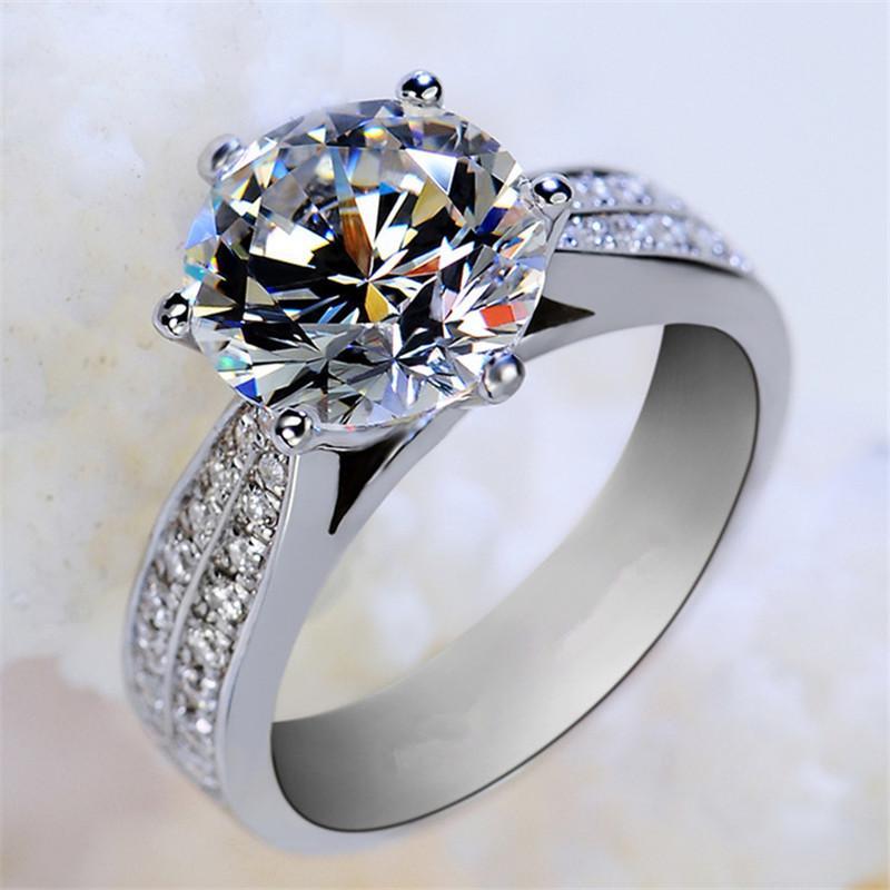 Klassischer Luxus-echter solider 925er Sterling Silber Ring Diamant Ring Hochzeit Schmuck Ringe Engagement für Frauen 825 Q2