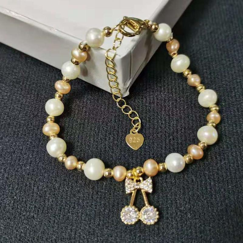 Fashion Adjustable Freshwater Pearl Charm Bracelet With Flower Pendant Heart Shape Butterfly Accessories Gold Beads Zircon Elegant Woemn's Jewelry Bangle