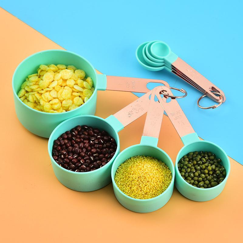 أدوات قياس الخبز المطبخ المقاوم للصدأ مقبض ارتفع الذهب قياس أكواب مجموعة بلون دائرية مريحة عد ملعقة T9I001252