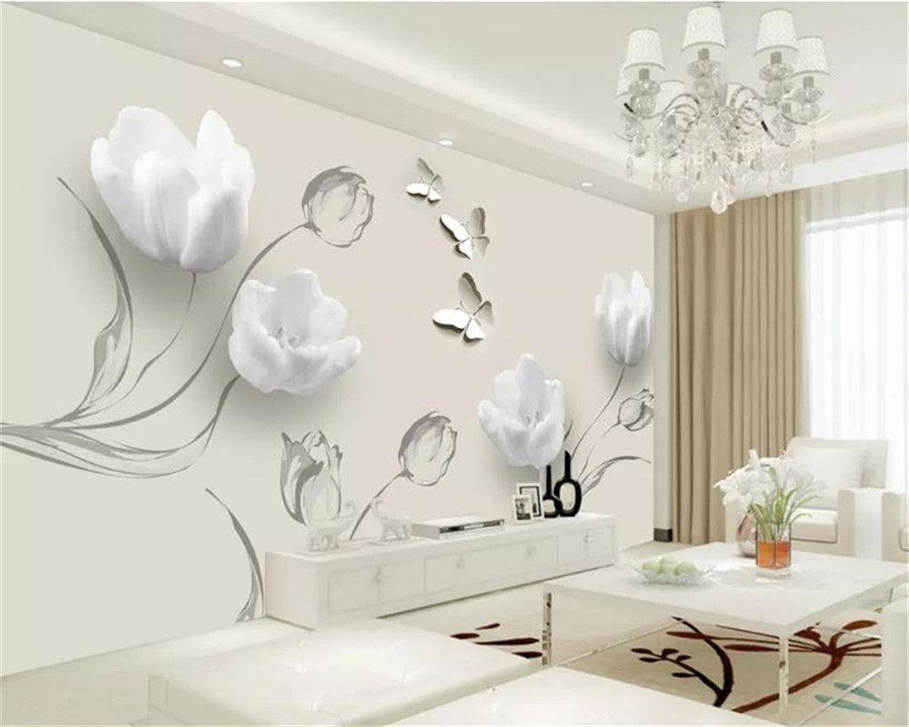 Пользовательские любые размер 3d цветок обои мода простой тюльпан бабочка гостиная спальня кухня дома декор обои
