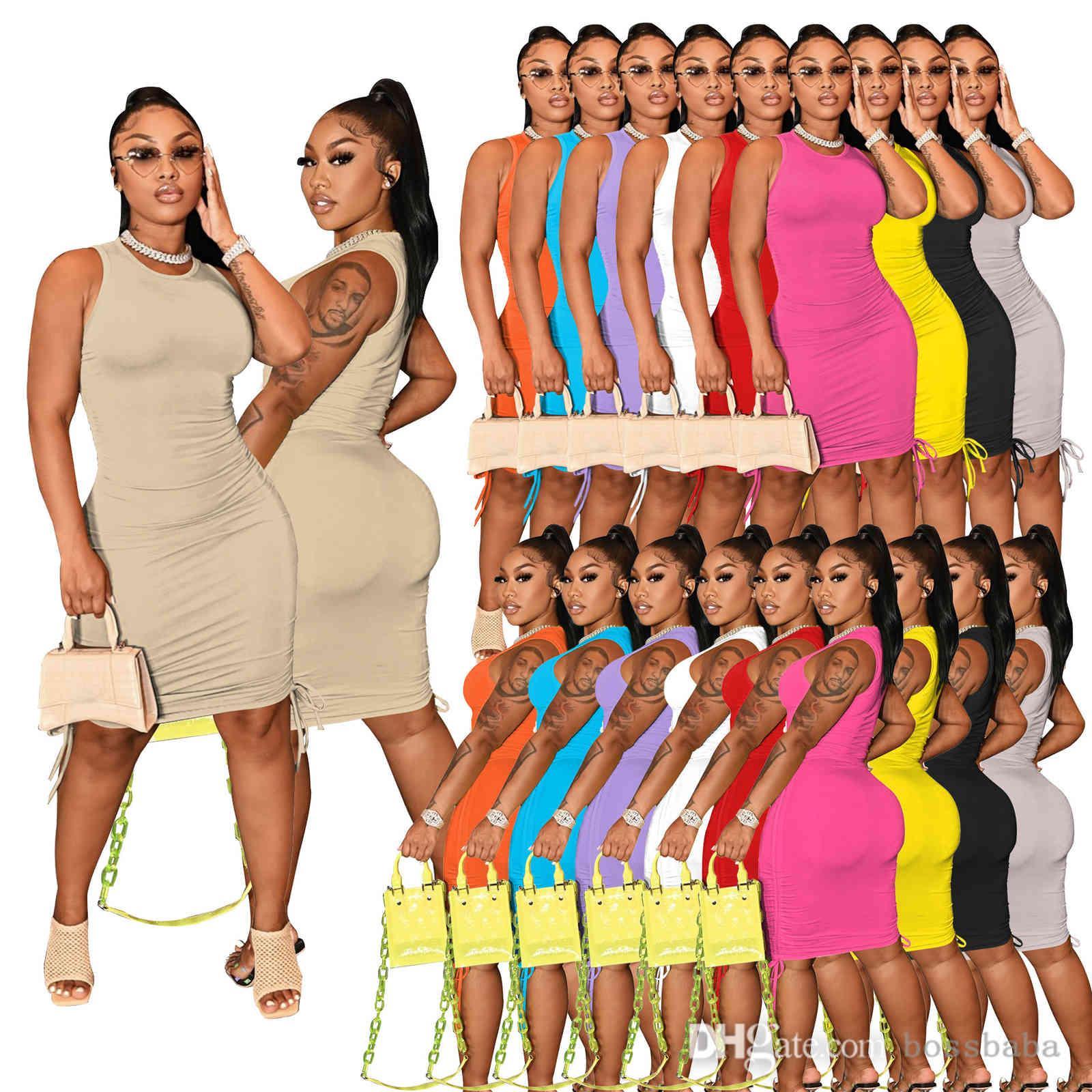 Mujeres Casual Vestidos Midi Cuello redondo Sin mangas Presión plisada Vestido Sólido Color Elástico Slim Falda Fotografía Night's Night's Style