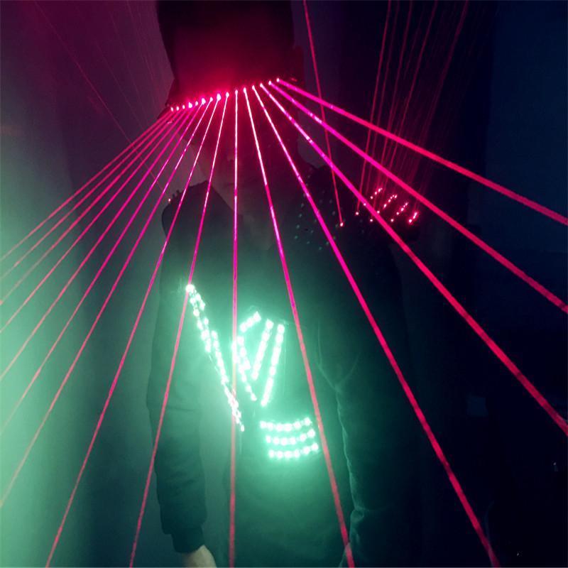 Mens Robot Dance Led Clothes Ballroom RGB Light Costumes Laser Vest Red Glasses Dj Stage Show Wears Suits Party Decoration