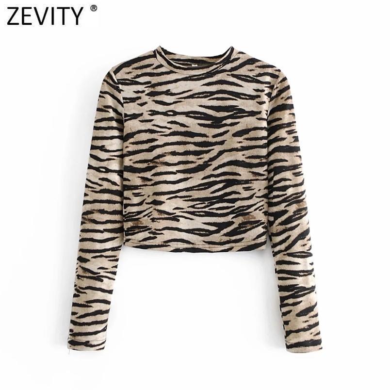 Euro Donna High Street Tiger Striped Print Breve camicetta a maglia a maglia a maglia Femme Chic Chic BASIC o collo Camicia Slim Blusas Tops LS9057 210420
