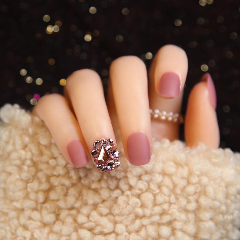 24pcs Press On Naiil Tips Short Frosted Matte Bridal Square Head Fake Nail Patches Wedding Rhinestones For Winter Autumn TI False Nails