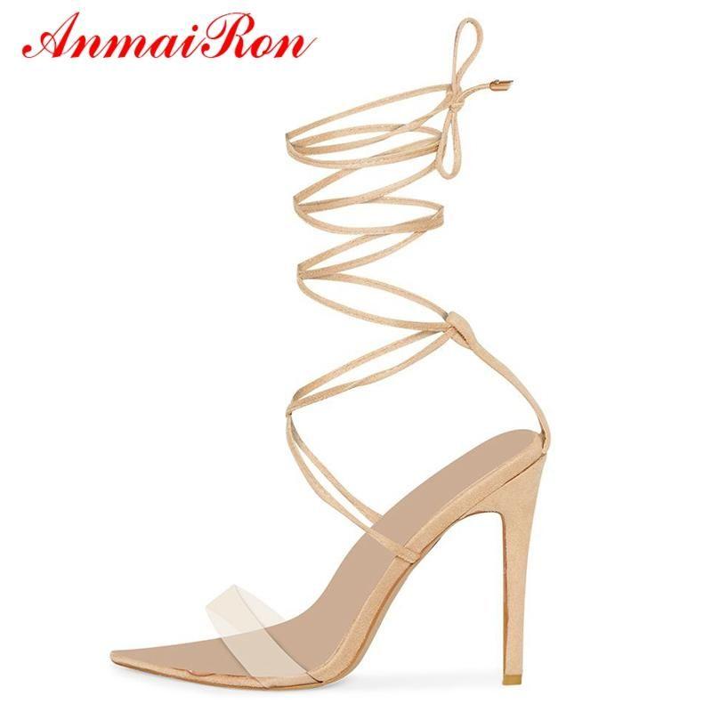 Basic Casual Super High Heel Sandales Sandales à lacets de la cheville à lacets Microfibre Femmes Chaussures de mode Grande taille 35-43 LY828