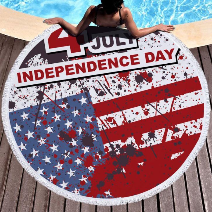 أحدث 150cm جولة منشفة الشاطئ المطبوعة، أسلوب الاستقلال الأمريكي ستوكات، شرابات شعور ناعم، دعم شعار مخصص