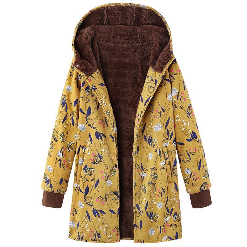 Womens 대형 코트 겨울 따뜻한 여성 자켓 코트 패션 플로랄 인쇄 오버 코트 후드 포켓 긴 소매 빈티지 Outwear 여성의 니트