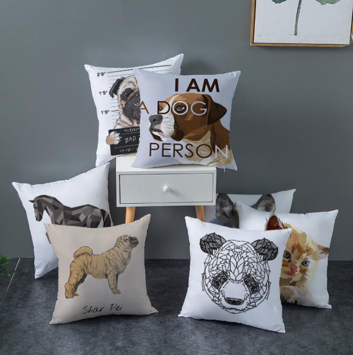 Le dernier étui d'oreiller 45x45cm, chats de compagnie, chiens, tigres et chevaux Sélection de style modèle, coussins de texture à la maison, support personnalisé logo