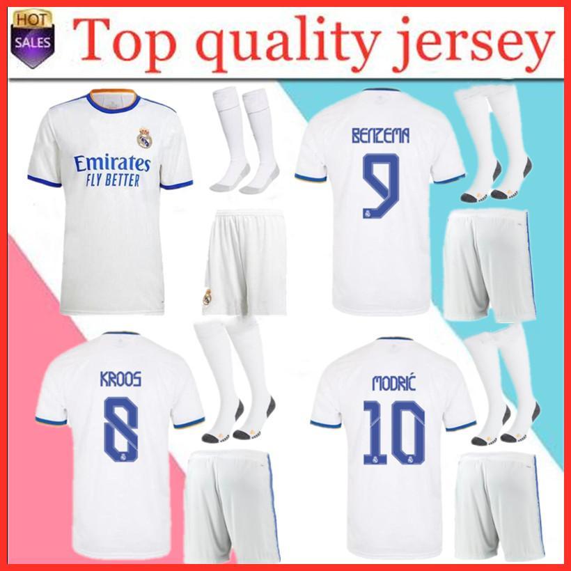 남자 키트 2021 축구 키트 레알 마드리드 축구 유니폼 20-21 Sergio Ramos Camiseta de Futbol 벤제마 ISCO Modric Hombre + Chico Footbal Shirt