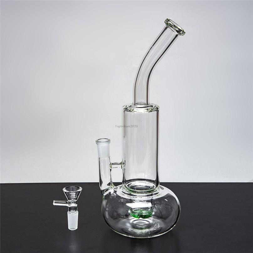 9 pollici di vetro trasparente di vetro di Bongs con tubi di fumo congiunti da 14 mm con tubi DAB spessi FY2302