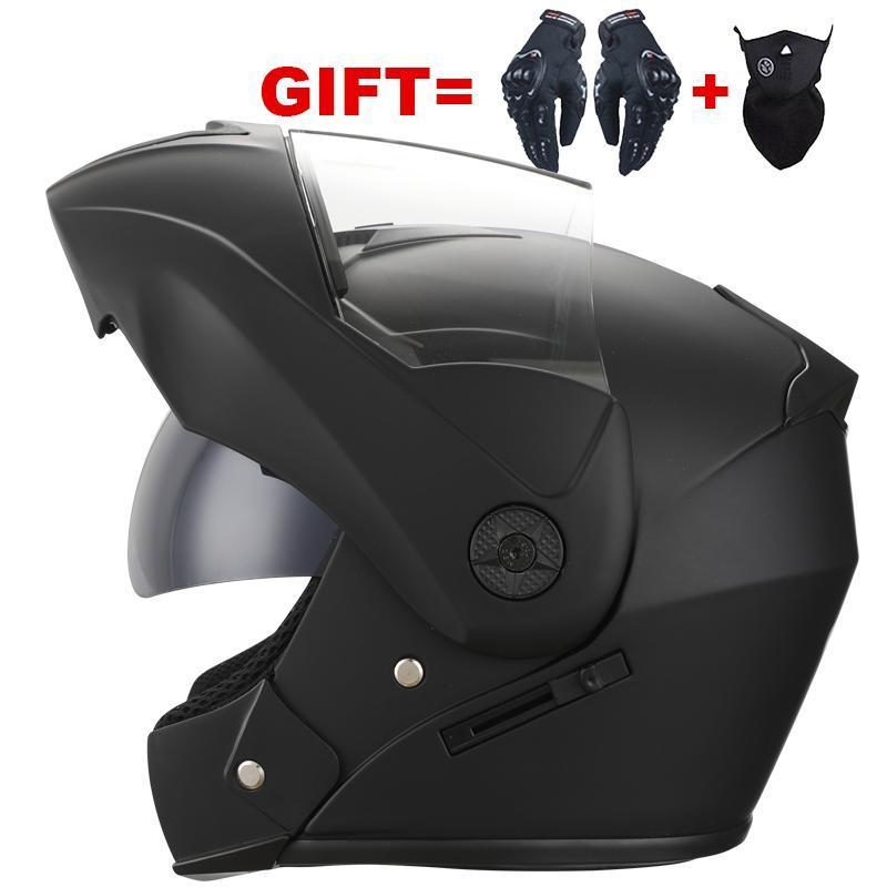 Hediyeler Profesyonel Elektrik Motosiklet Yetişkinler Için Flip Up Kask Modüler Çift Lens Adam Kadınlar Motocross Moto Kaskları