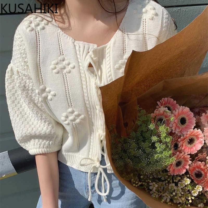 Frühling Süße Lace Up Pullover Cardigan Kausal Hauchhülse Oansatz Gestrickte Mantel Kurzer Strickwaren Outwear Tops 6G141 210603