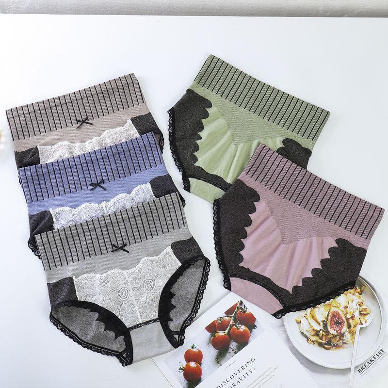 Pantaloni da donna ad alta mutande Postpartum Vita in vita in glutei Lifting Body Shaping Pants Sexy Pizzo Grafene Grafene Bottom Crutch Slip