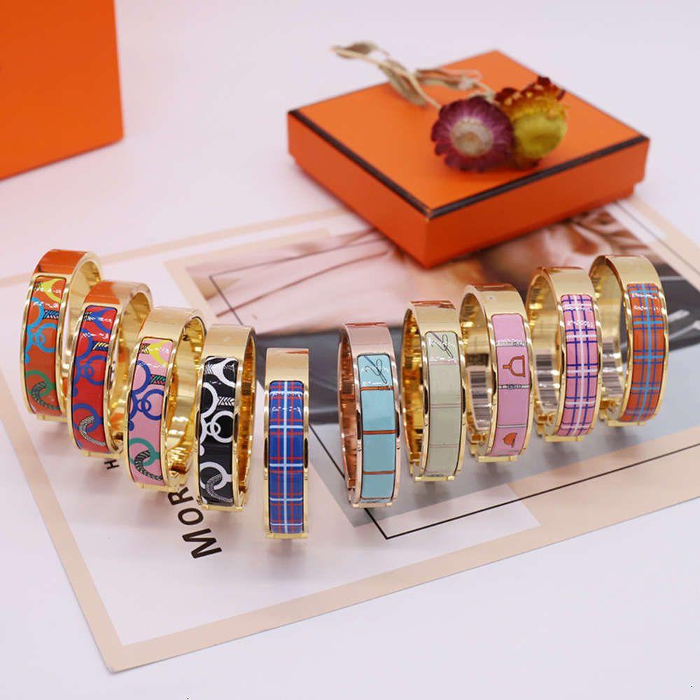 Esmalte colorido pulsera pulsera pulseras de moda para hombre mujer joyería pulsera joyería 10 color opcional con caja
