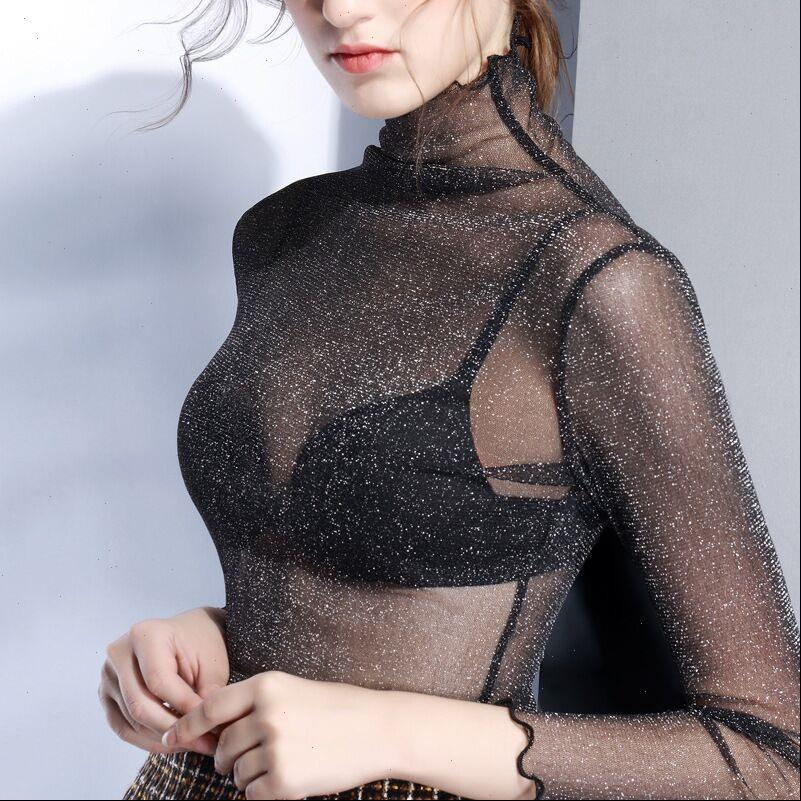 Plus Size Women Shirts Sexy See through Mesh Blouses Ladies Fashion Hollow Out Long Sleeve Turtlenck Slim Stretch
