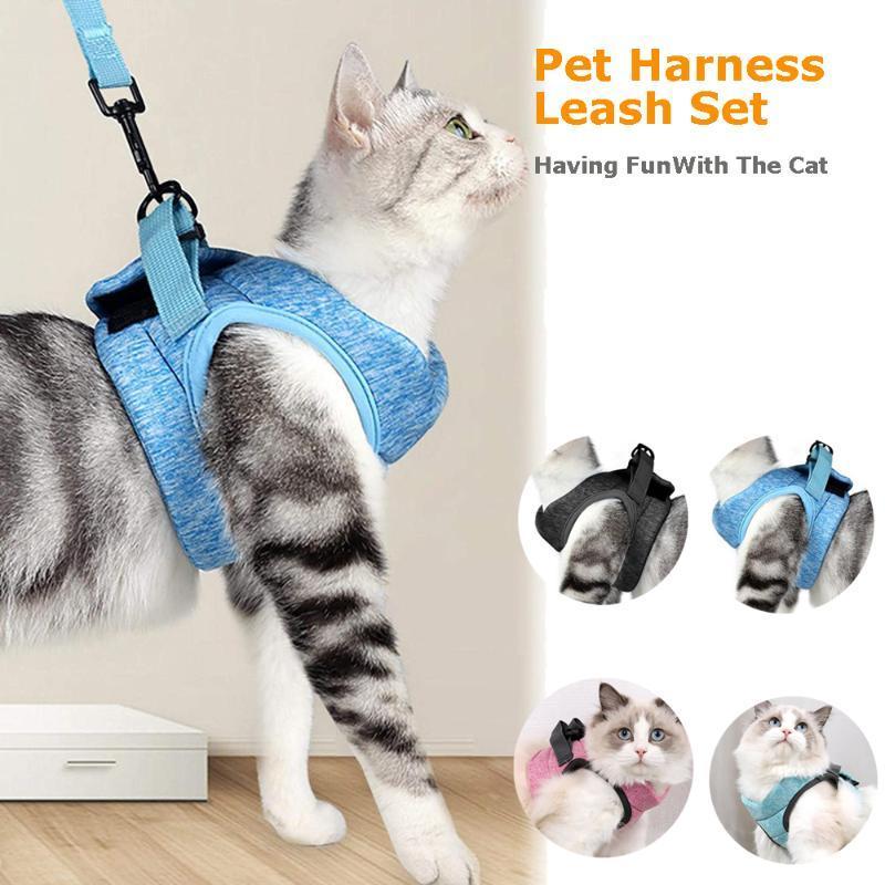 Light Cat Harness Leash Set Pet Dog Soft Adjustable Anti-Escape Vest Harnesses Cats Walking Chest Strap Jacket For Kitten Collars & Leads