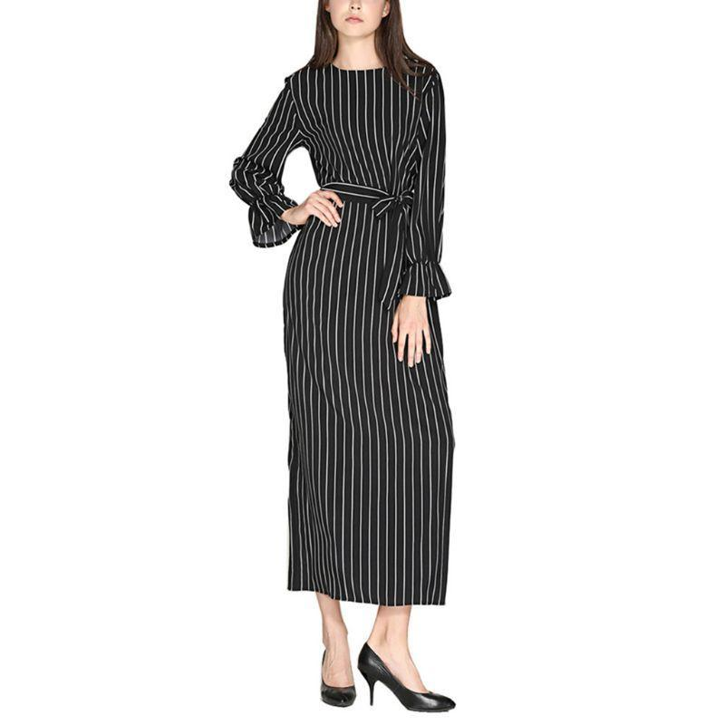 Femmes Lady Muslim Musulman Flare Sleeve Maxi Longue Robe Vertical Stripes O-Cou O-Cou Ceinture High Taille Casual Pull-Tunique Slim Tunique Robes Bx0a