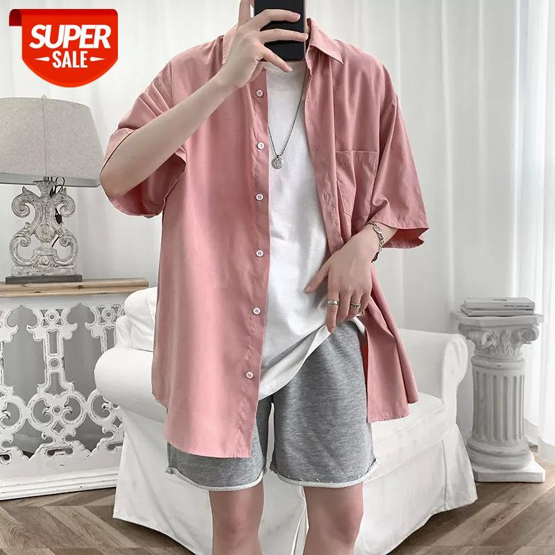 2020 Yaz erkek Moda Hawaii Gömlek Gevşek Saf Renk Camisa Masculina Streetwear Gömlek Büyük Boy M-5XL # 8945