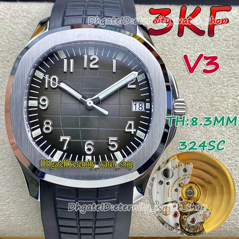 Eternity Relógios 3KF V3 Versão de Atualização 5167A Cal.324 S C Automático Textura Preta Dial Mens Relógio Mínimo Ruído Movimento Suíço SS Caixa De Borracha Caixa De Borracha 001