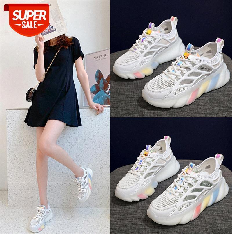 Eis Silk Mesh Face Alte Schuhe Frauen Koreanische Version des Regenbogens Bottom Sport Casual Atmungsaktive Frauen # UP7C