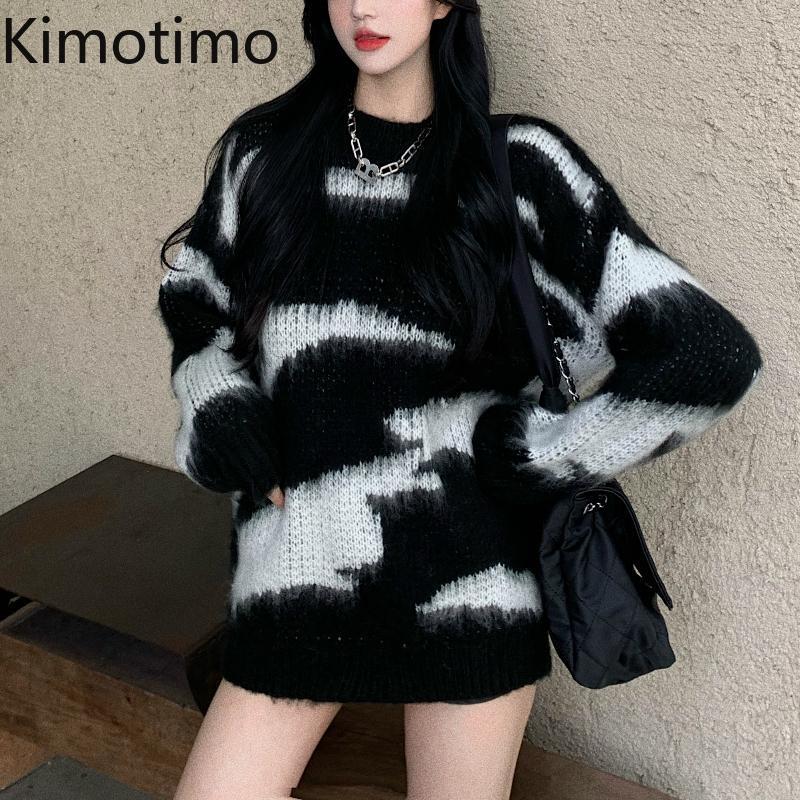 Kimotimo Pullover Frauen 2021 Herbst Winter Langarm Schwarze High Street Harajuku Mohair Übergröße Lässige Strickwaren Tops Frauenpullover