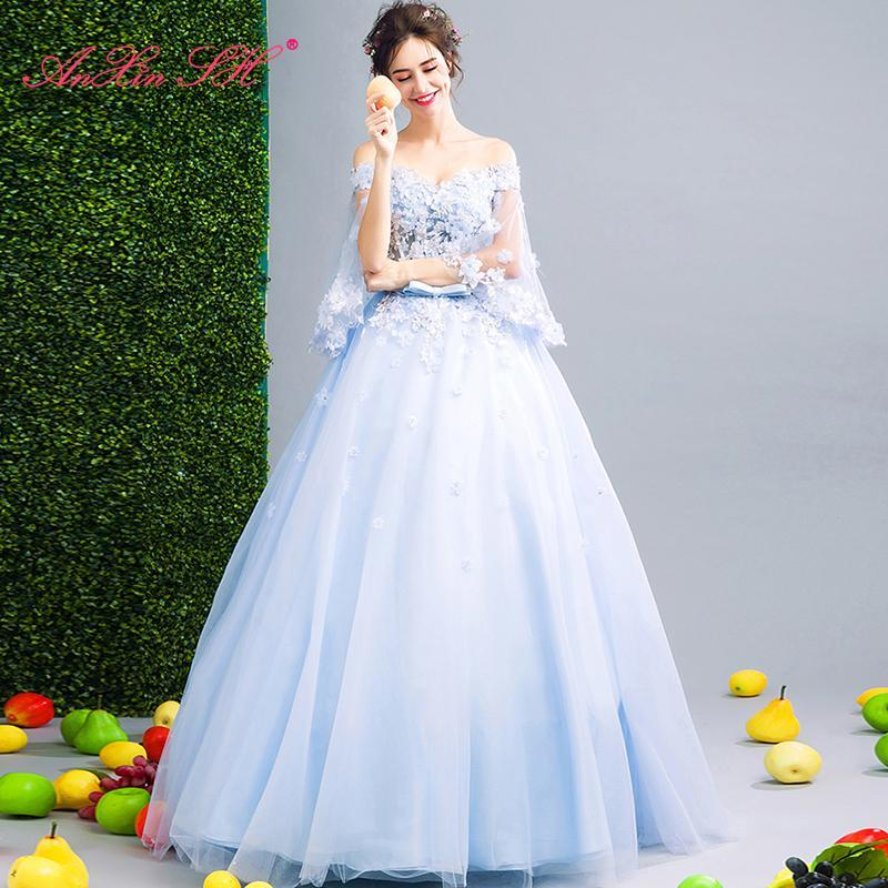 Party Dresses AnXin SH Princess Blue Flower Lace Boat Neck Beading Crystal Bow Handmade Petal Bride Dinner Illusion Evening Dress 257