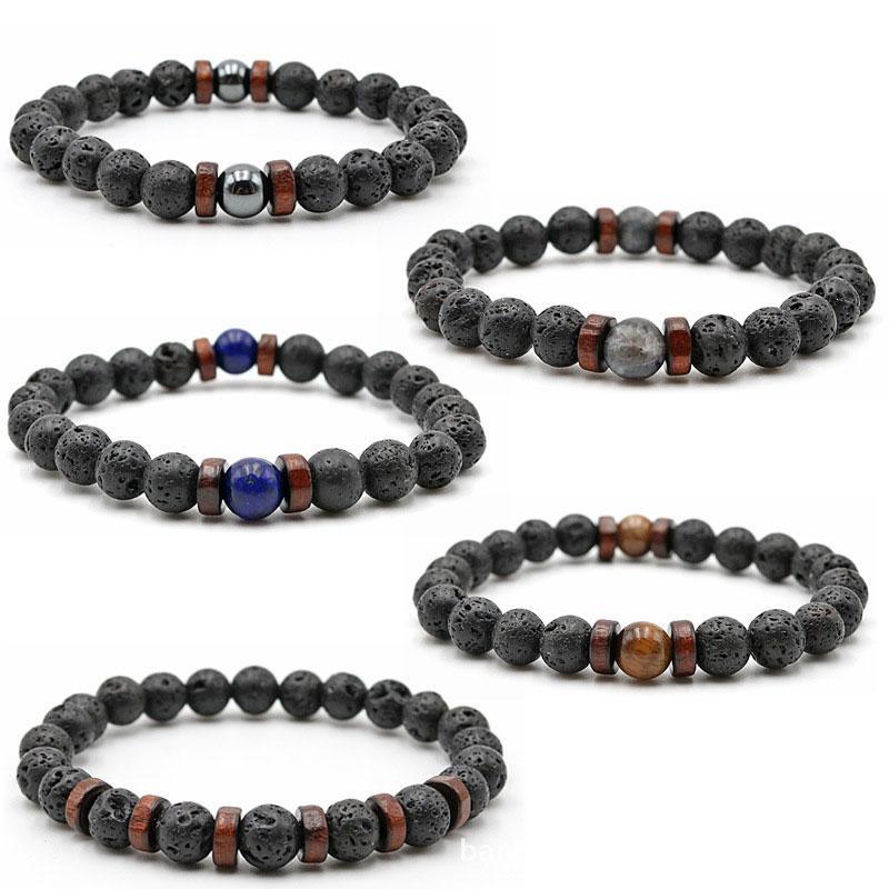 8mm Natural Lava Stone Beaded Strands Handmade Elastic Charm Bracelets For Women Men Party Club Decor Yoga Jewelry