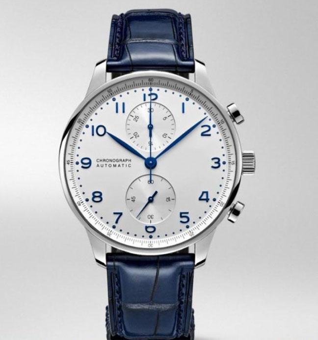 Классический хронограф мужские часы Португанец Сапфир Серебро Черный Синий Кожаный Спорт Специальные Белые наручные часы