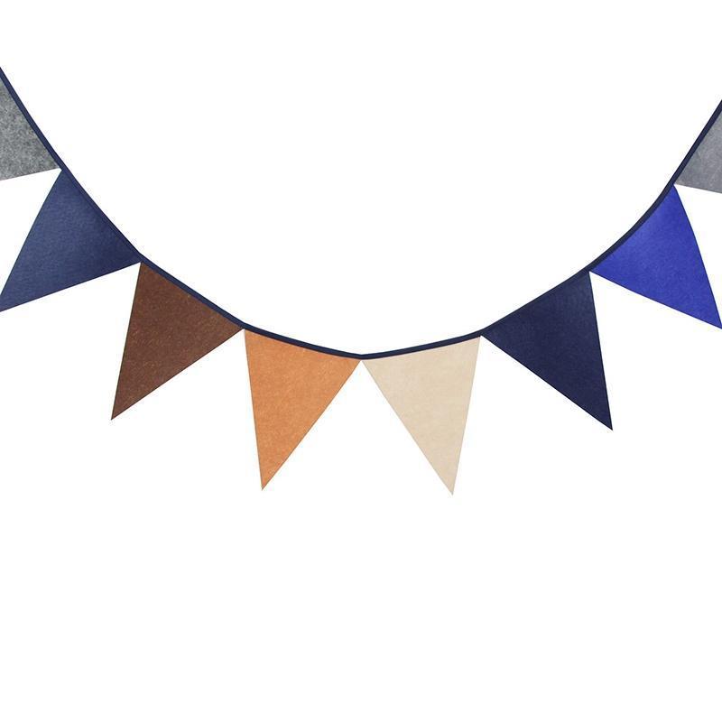 1 unids 2,8 m de longitud 12 banderas marrón tela no tejida boda banner cumpleaños fiesta decoración no tejido bandera bandera baby room deco