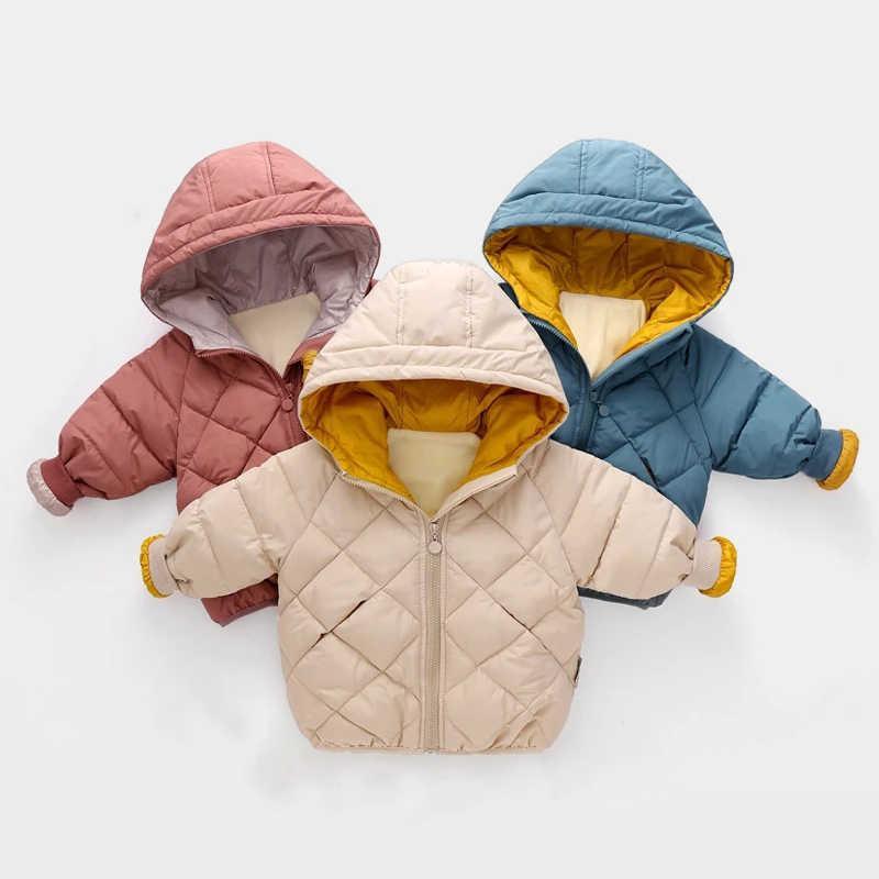 Bear Leader Kids Girls Boys Autumn Winter Jackets Coat New Children Down Padded Baby Jacket Velvet Warm Cotton Jacket Clothes G0908