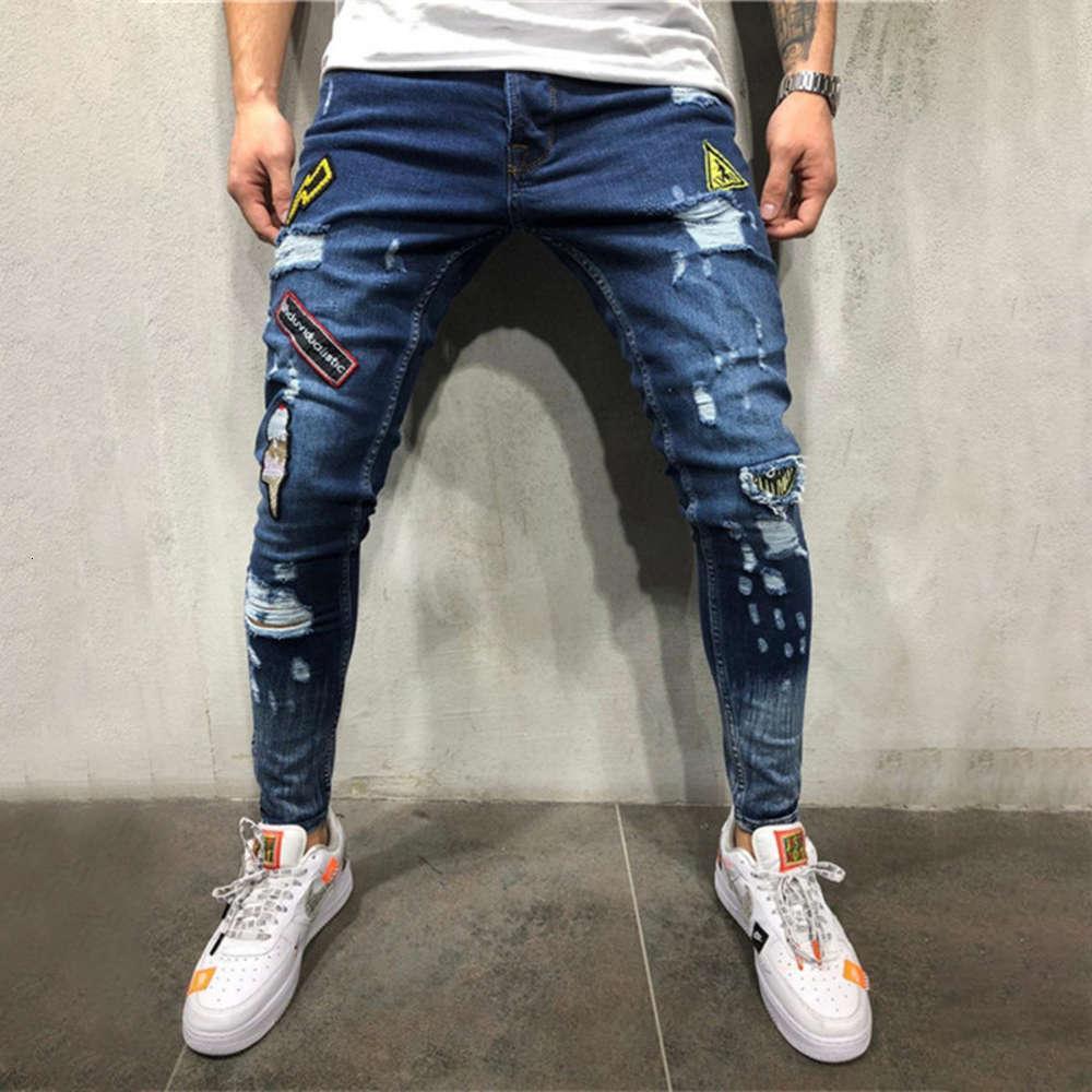 Sommerlöcher haben Abzeichen bestickte Kennzeichnung Jugendmode Trend Jeans 2020 Neue Mode Hip Hop Jeans