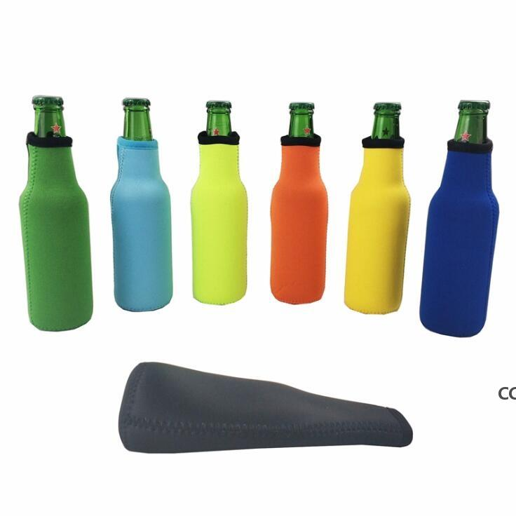 Beer Bottle Sleeve Neoprene Insulation Bags Holder Zipper Soft Drinks Covers With Stitched Fabric Edges Bareware Tool DHE8826