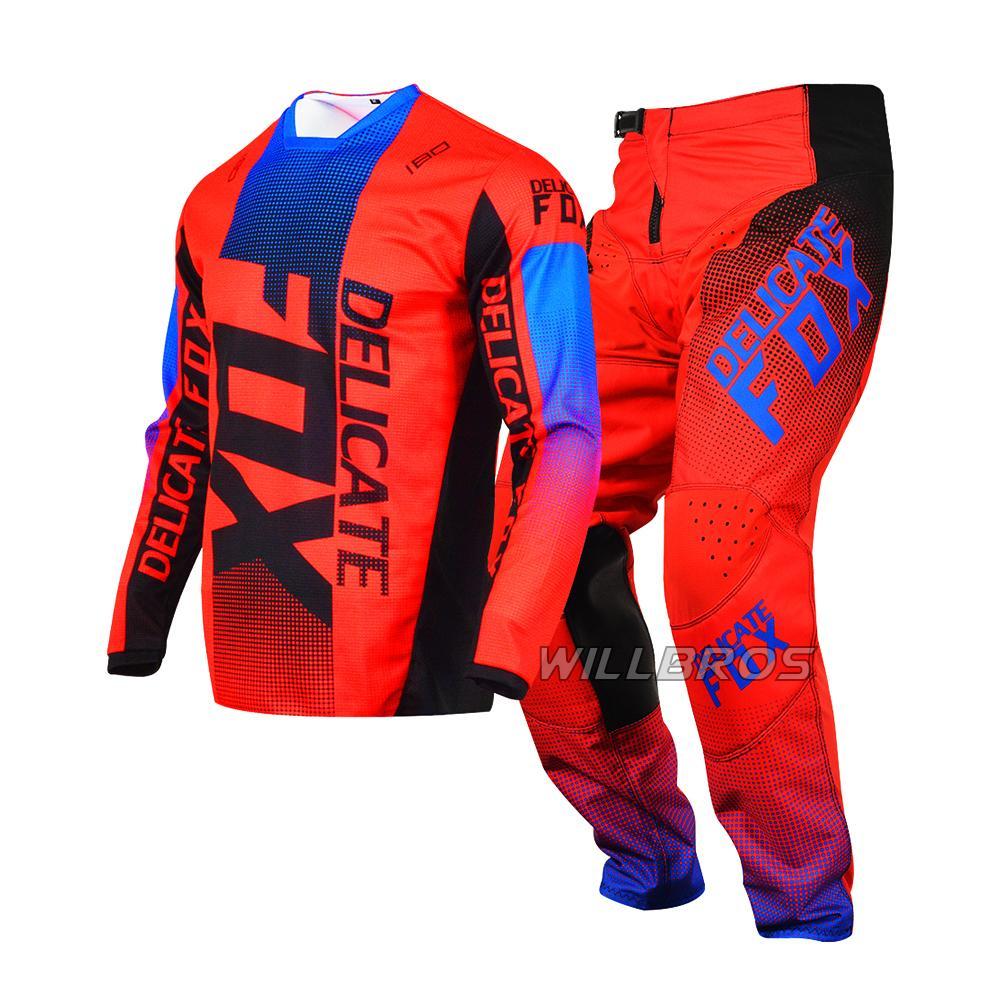 FOX Delicado 180 Oktiv Vermelho Jersey Pant Combo Motocicleta Motocicleta Motocicleta Motocicleta DH ATV UTV MTB Gear Set