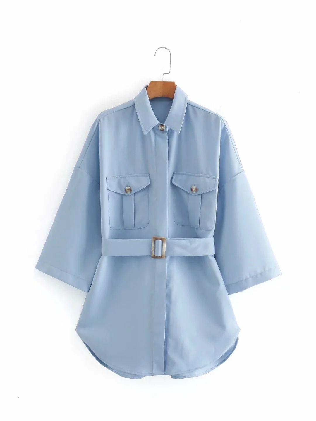 2020 azul manga comprida sexy mulheres blusas camisas outono outono nova moda feminina slim azul cinto cinto