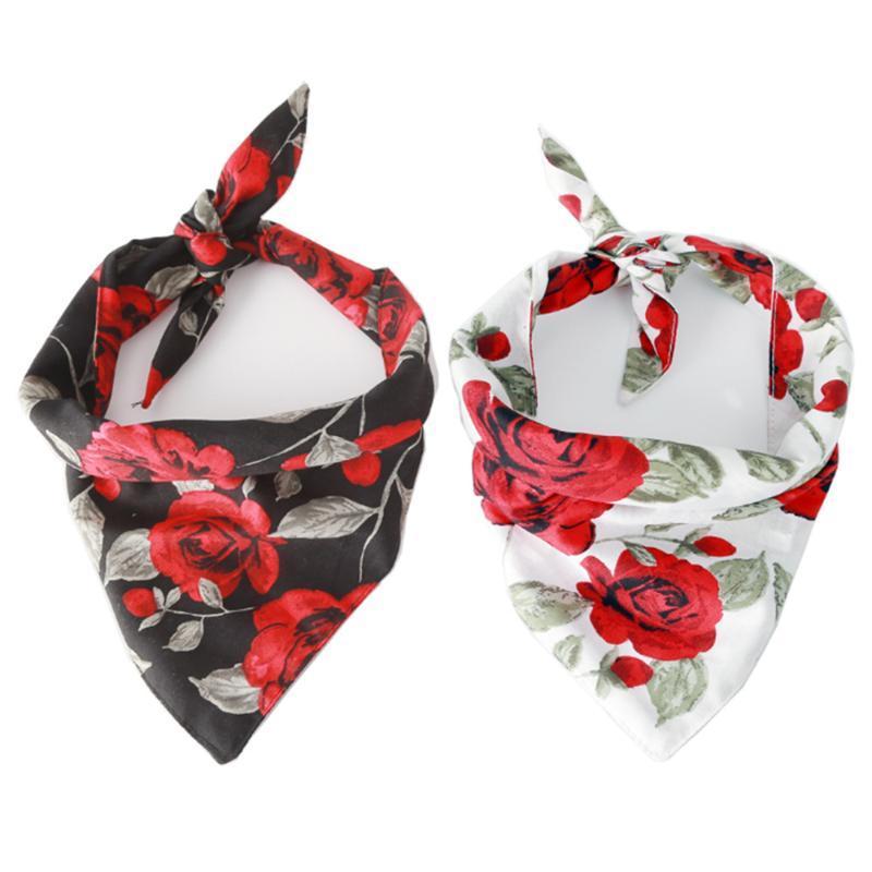 Dog Apparel Triangle Pet Bandana Rose Flower Bibs Towel Scarf Collar Saliva Cotton Bib For Cat Valentine's Day