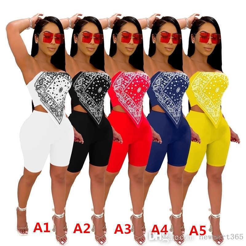 Frauen Trainingsanzüge Designer Kleidung Zwei Teile Outfits Nachtclub Sexy Gedruckte Outfits gefaltet gestickte Tops Shorts DHL