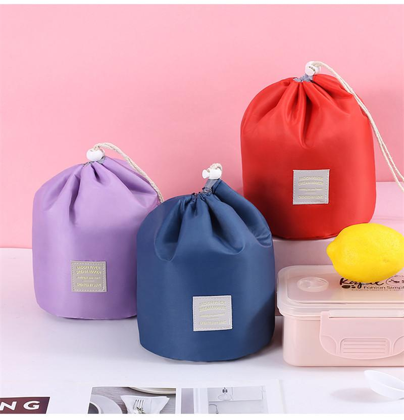 Koreanische stil handtasche fass geformte kosmetische make-up taschen elegant nylon trommel waschen tasche große kapazität bilden organizer frauen lagerung beutel 2021