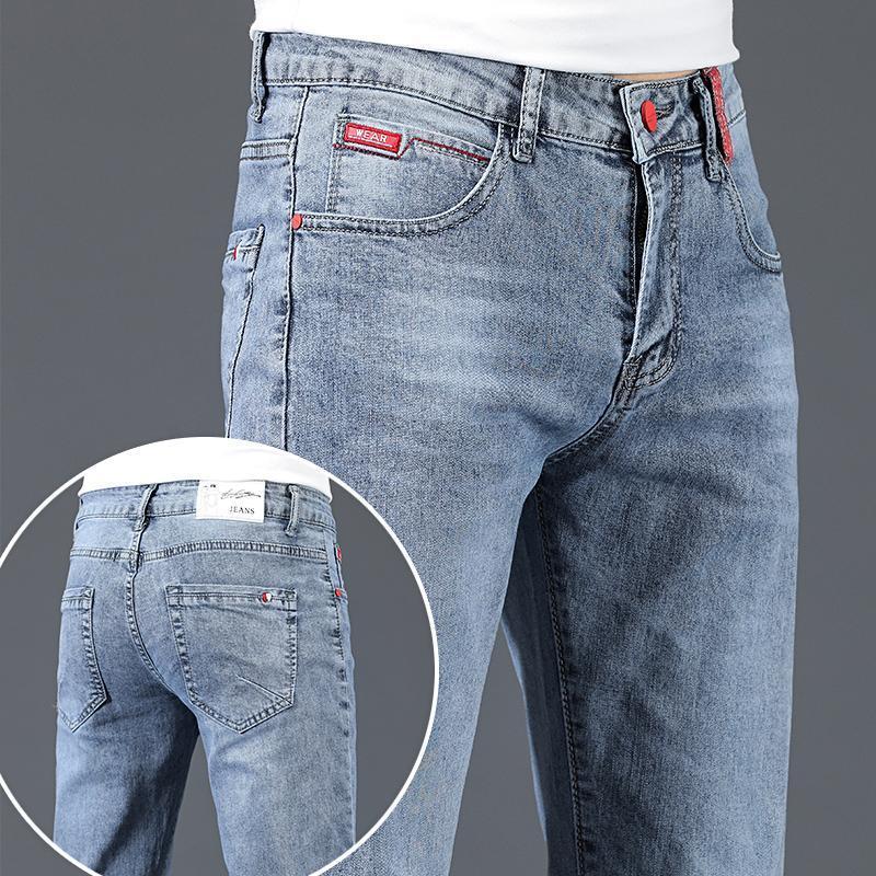 Jeans masculinos 2021 magro moda preto casual algodão elástico slim calças denim macho marca roupas azul cinza
