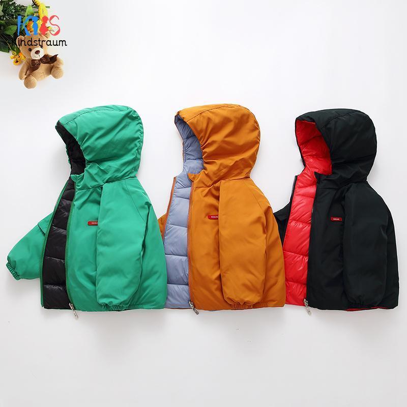 겨울 소녀를위한 자켓 / 소년 양쪽 어린이 착용 오리 코트 후드 겉옷 키즈 옷 DC186