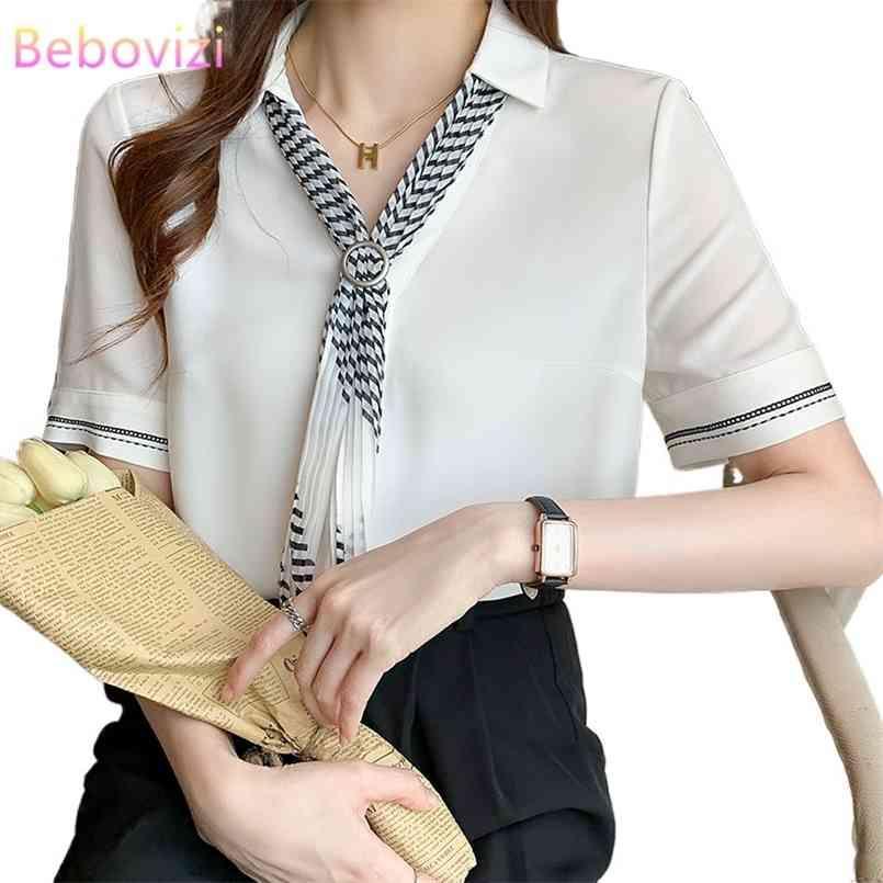 S-XXL White Korean Mode Fliege Chiffon Sommer Button Up Casual Puff Sleeve Shirts Tops für Frauen Büro Dame Arbeitskleidung 210603