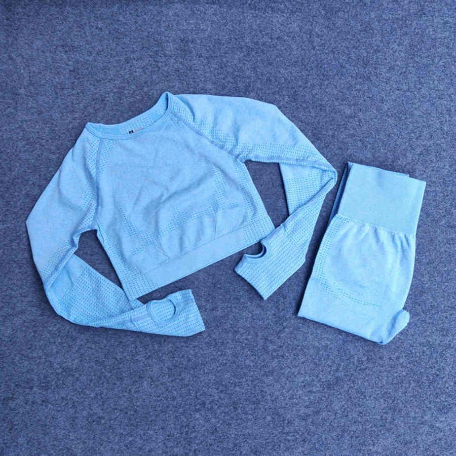 Nahtlose Punkt Jacquard Fitness Schnell trocknend Komfortable langarm Yoga Anzug Zweiteilige Top + hohe Taille Hose Amy0