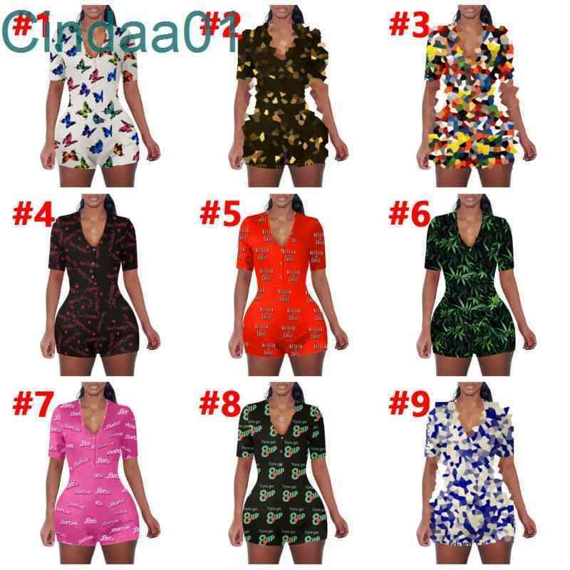 Women Jumpsuits Slim Sexy Designer Short Sleeve Onesies V Neck Casual Loose Cartoon Pattern Lettering Printing Home Rompers