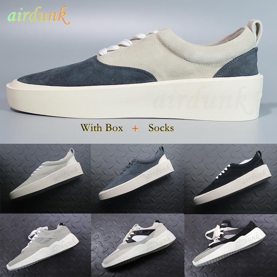 2021 top sneakers designer nevoeiro 101 x mens medo sapatos casuais camurça skateboarding luxo slip-on moda juventude sapato com caixa tamanho 39-45